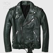 vintage style men green genuine leather lambskin tanning leather motorcycle jacket coat cuff zipper jaqueta de couro lt2455