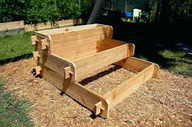 stair step original cedar raised garden bed tiered corner n