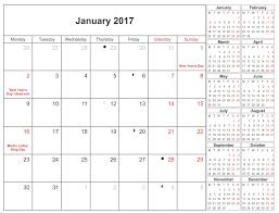 January 2017 Moon Calendar