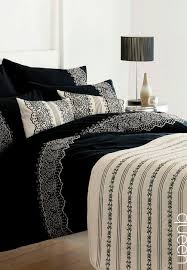 design studio farah queen size duvet cover set black