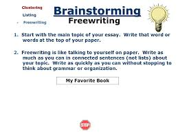 brainstorming getting ideas before you write introduction getting  clustering clustering listing writing writing my favorite book brainstorming writing 1 start the main topic of your essay