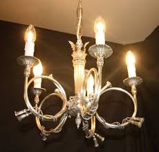 a vintage french silver coloured chandelier 5 arm ceiling light ref amy20