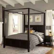 bedroom king size canopy bed frame beautifully intricate iron headboards and white sheer curtains wall