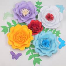 Made Flower With Paper 2019 Giant Paper Flowers Backdrop Half Made Full Kits With Leaves Butterflies Wedding Baby Nursery Home Decorations Handmade Fake Flower Diy From