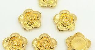 New <b>30pcs</b> Plating gold 15mm Resin Rose Flower Flatback ...