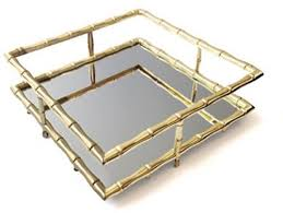gold bamboo mirror. Gold Bamboo Square Mirror Tray View Full Size