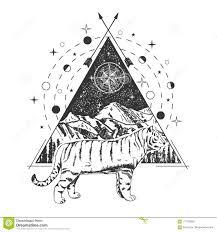 дизайн стиля искусства татуировки тигра вектора творческий