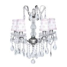 jubilee collection pewter four light glass center crystal mini chandelier with white and pink petal shades