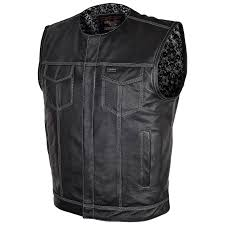 vance leathers men s concealed carry black leather vest with black paisley liner
