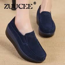 senarai harga zuucee women oxfords shoes ballerina flats red shoes women genuine leather lace up boat shoes moccasins loafers dark blue terbaru di malaysia