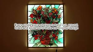 flower and vase stained glass panel with rgb led back light