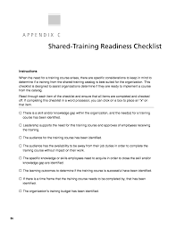 Appendix C Shared Training Readiness Checklist Transit
