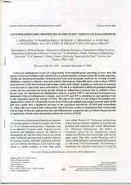 Anti-inflammatory properties of the plant Verbascum Mallophorum