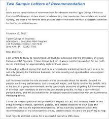 Letter of Re mendation for Admission