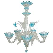 fashionable chandelier murano glass of crystal with blue accents for at 1stdibs with regard to