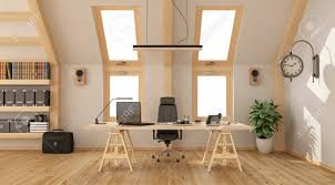 wooden office. Modern Office In The Attic With Wooden Desk, Bookcase And Two Windows - 3d Rendering N