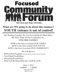 flyers forum upcoming community forum focuses on preventing youth violence in