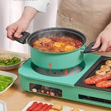Bếp lẩu nướng 2 mâm nhiệt Nineshield DK-303 tích hợp vừa nướng vừa lẩu có 2  nút diều khiển riêng biệt - Nồi lẩu điện