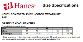 Hanes Size Chart Youth P473 Size Chart Atech Imagewear Embroidery Fabric