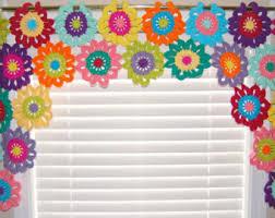 Flower Valance- Flower Curtains- Crochet Curtains- Kitchen Curtains- Colorful  Curtains- Custom