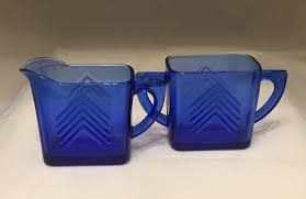 hazel atlas glass company ca 1930s chevron cobalt depression glass creamer and sugar bowl