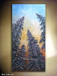 original pine trees painting abstract contemporary large artwork impasto palette knife pine trees