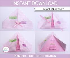 glamping party invitations camping tent invitations birthday party editable diy theme template