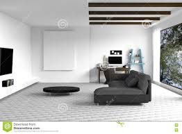 Living Room With White Walls 3d Rendering Illustration Of White Living Room Interior Design