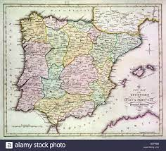 Mappa della Spagna e Portogallo con una parte del sud della Francia e il  nord Africa. Data: circa 1801 Foto stock - Alamy