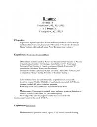 Wastewater Treatment Plant Operator Resume resume sample