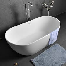 oval shape 64 inch freestanding glossy matte white stone resin soaking bathtub with overflow and
