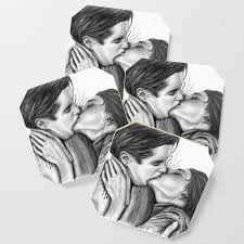 Cinema Kiss Blackwhite Love Art Illustration Romance Lovers Relationship Couple Drawing Kiss Coaster By Nymphainna