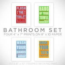 Kids Bathroom Wall Decor Kids Room Art Bathroom Decor Set Of 4 Prints By Order Of The