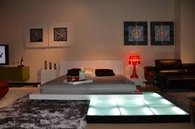 Gamma - Contemporary Platform Bed with Lights, Nightstands and Lift-Storage