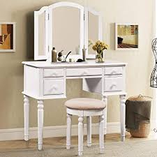 Amazon.com - Merax. Ella Vanity Set w/Stool Tri-Folding Mirrors ...