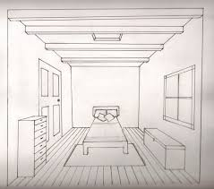One Point Perspective Bedroom Has