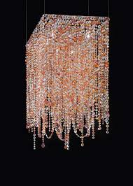 square pink and orange crystal chandelier masiero