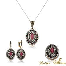 authentic ruby oval set