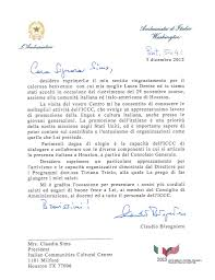 Thank You Note From His Excellency The Ambassador Of Italy In Usa