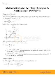Application Of Derivatives Class 12 Notes Vidyakul
