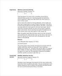 Waitress Resume Amazing Waitress Resume Template 60 Free Word PDF Document Downloads