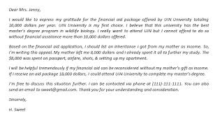 financial aid appeal letter and its