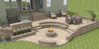 block fire pit sitting wall bench outdoor kitchen and planters 3d paver patios gallery daniellefence how to make