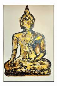 golden black buddha canvas oil painting