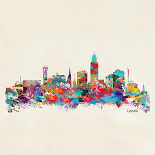 lincoln nebraska skyline painting lincoln nebraska skyline by bleu bri