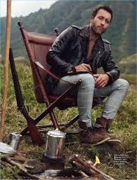 relaxing outdoors alex o loughlin sports an allsaints shirt with zara windowpane print trousers