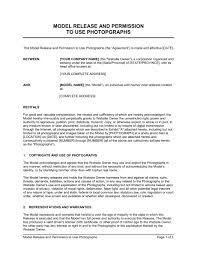 Model Release And Permission To Use Photographs Template Word