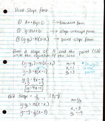 writing equations in slope intercept form point slope form notes page 1 costelloalg algebra homework 2017