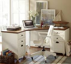 home office furniture corner desk. Pottery Barn WHITNEY CORNER DESK Whitney 4-Drawer Corner Desk Almond White Home Office Furniture E