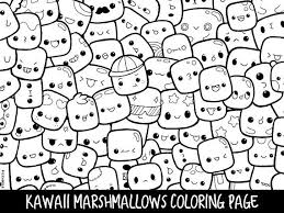 Marshmallows Doodle Coloring Page Printable Cutekawaii Coloring